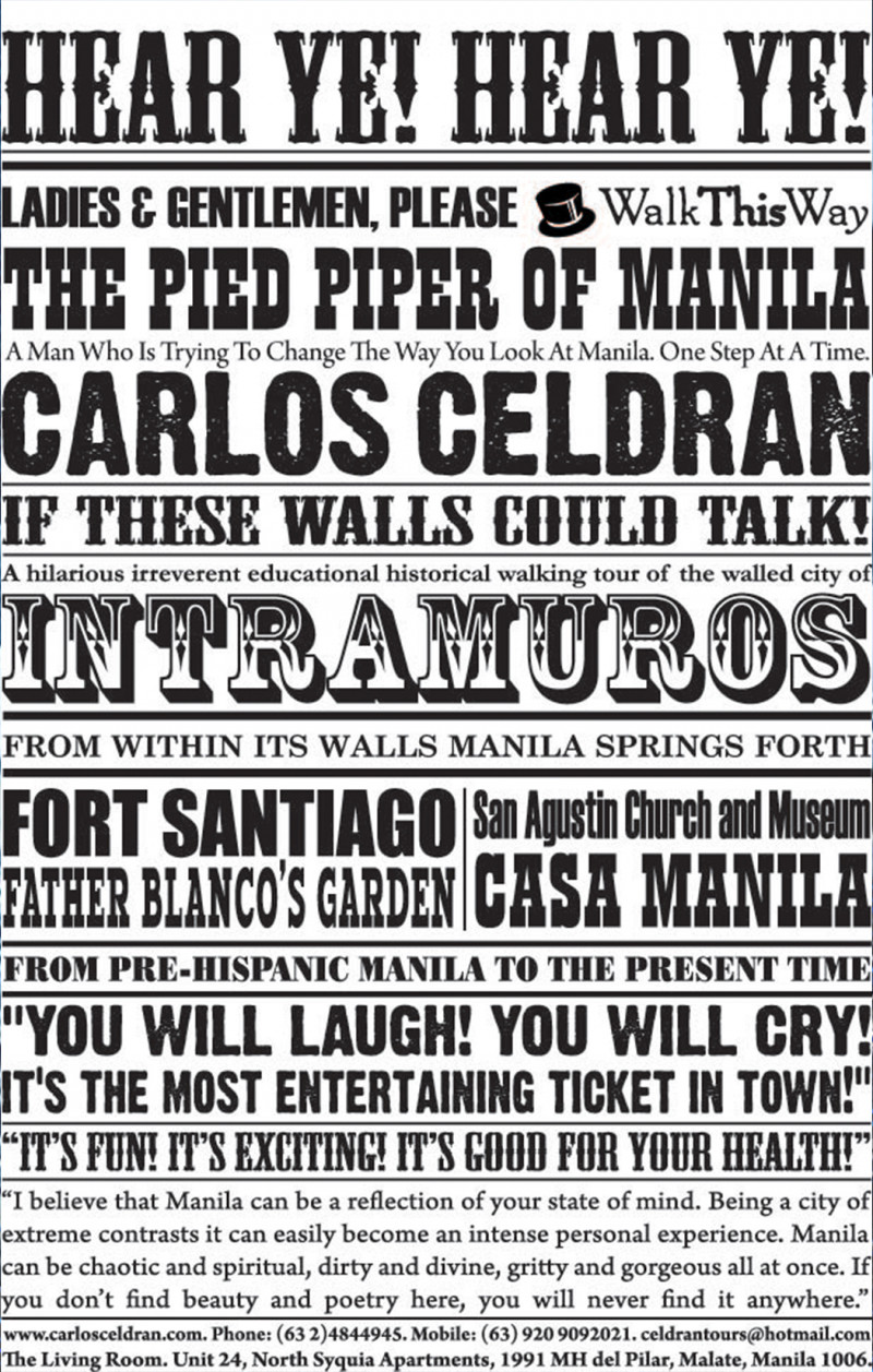 IF THESE WALLS COULD TALK (An Intramuros Performance Tour)