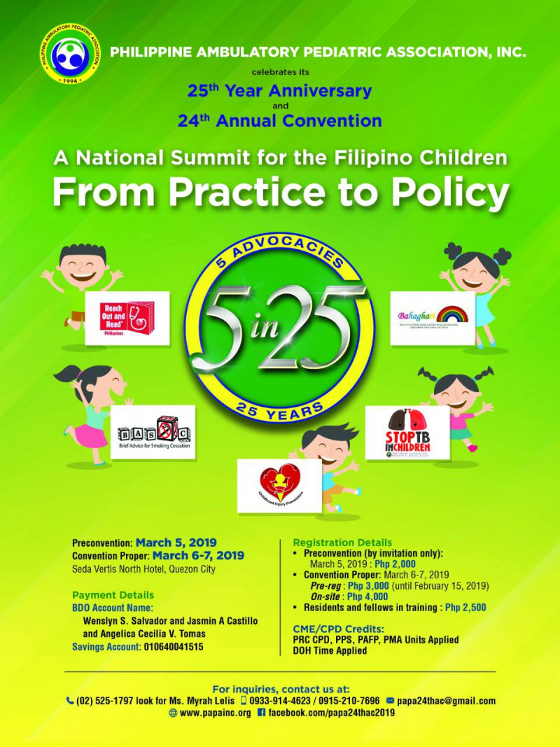 "PAPA 24th Annual Convention March 5-7, 2019 ""A National Summit for the Filipino Children: FROM PRACTICE TO POLICY"""