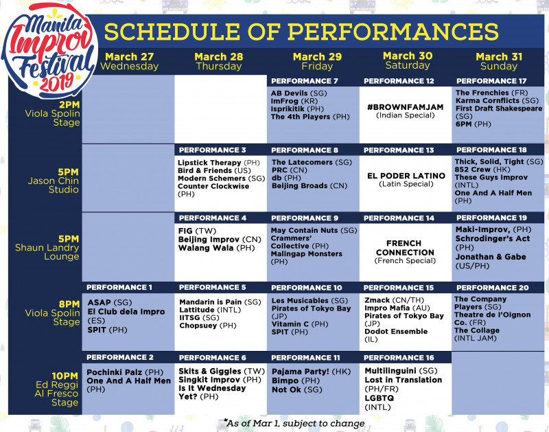 Manila Improv Festival 5-Show Pass